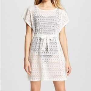 Merona white lace belted swim cover up dress